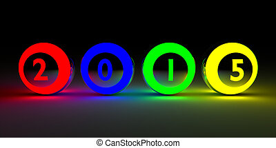 2015 on colored balls - New Years 2015 lottery balls 3d...
