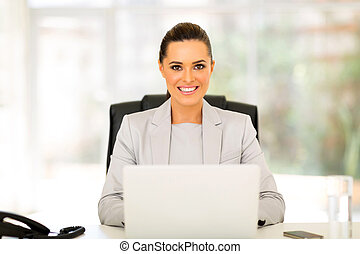 businesswoman using computer in office - happy businesswoman...