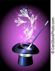 Conjurer hat and transparent flowers - Conjurer hat and...