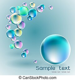 Transparent soap bubble on gray background for banner or...