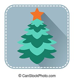 Flat avatar with Christmas fur tree - Flat avatar or icon...