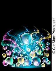 Smoke and versicoloured bubbles - Glowing background with...