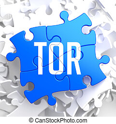 TOR on Blue Puzzle. - TOR - Blue Puzzle on White Background.