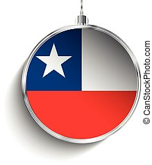 Merry Christmas Silver Ball with Flag Chile - Vector - Merry...