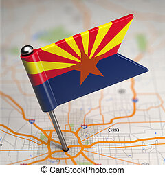 Arizona Small Flag on a Map Background - Small Flag of...