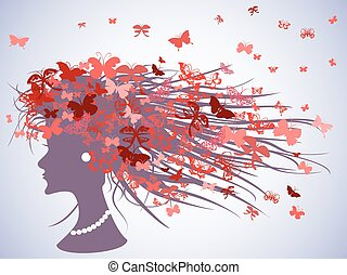 woman profile with butterflies hair