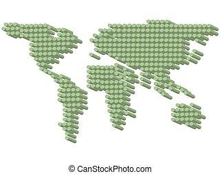 3D green dots earth