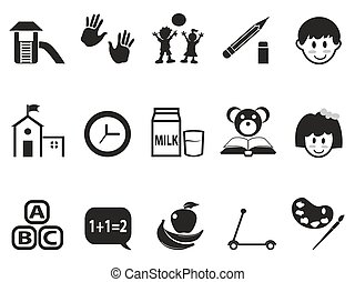 preschool icons set - isolated black preschool icons set...