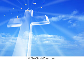 Beaming bright cross in heaven - Christian cross over a...