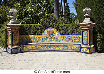 Decorative bench in a park in Seville, Spain