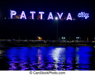 Pattaya name board at night, Thailand