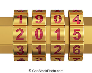 2015 Year combination lock - 3d render of golden 2015 Year...