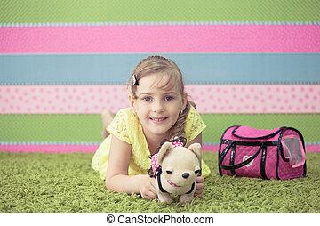 Tapete, menina, tocando, jovem, brinquedos