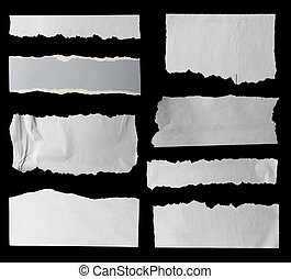 Torn papers - Eight pieces of torn paper on black. Copy...