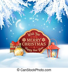 Vector Christmas Winter Night Background - Vector Christmas...