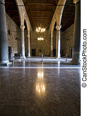 Room inside the palace of the Knights at Rhodes island,...