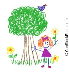 Crayon Girl - Little girl holding flower in the style of a...