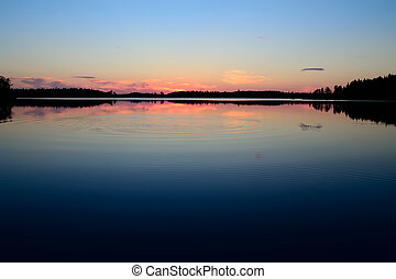 Nights rest Lake Engozero, North Karelia, Russia - Evening...