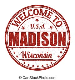 Welcome to Madison stamp - Welcome to Madison grunge rubber...