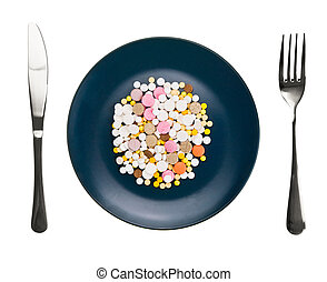 Dish with pills