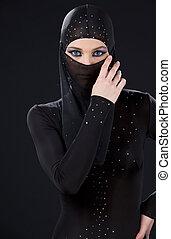 ninja - picture of ninja woman in the dark