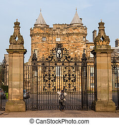Entrance gates to the Palace of Holyroodhouse in Edinburgh,...