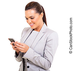 businesswoman texting on her smart phone - happy...