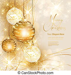 Christmas gold background, easy all editable