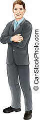 Businessman character - An illustration of a happy handsome...