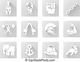 Strength icons - Conceptual strength icon set of icons...