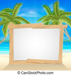 Beach holiday palm tree sign - Beach holiday or vacation...