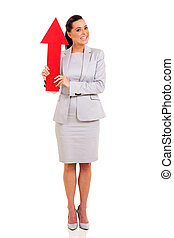 woman holding red arrow pointing up