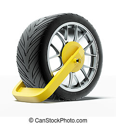 Car wheel clamp isolated on a white background. 3d render