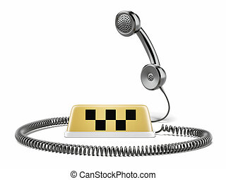 Taxi sign and phone isolated on a white background. 3d...