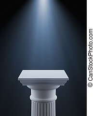 White column with light isolated on a black background 3d...