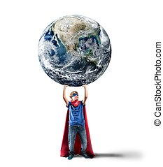 Little superhero saves the world Earth provided by NASA
