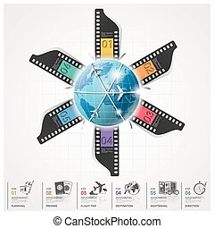 Global Travel And Journey Infographic With Film Round Circle...