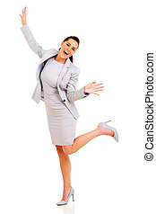 businesswoman arms up - excited businesswoman arms up on...