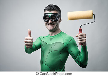 Funny superhero with painting roller thumbs up - Funny...