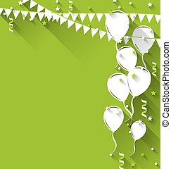 Happy birthday background with balloons and hanging...