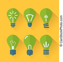 Icon set process of generating ideas to solve problems,...