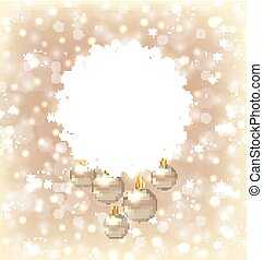 Christmas round frame made in snowflakes and golden balls on bei