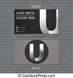 Creative Metal Business Card Letter U. Vector illustration with lines.