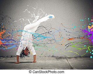 Capoeira - Brazilian man dressed in white dancing capoeira