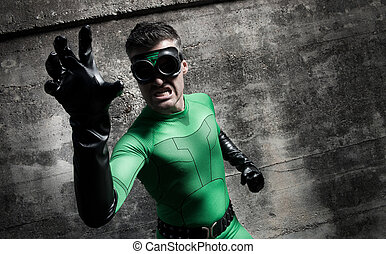 Aggressive superhero close-up - Aggressive threatening green...