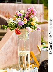 Flower Center Piece at Wedding Reception
