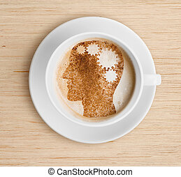Coffee cup with brain on foam Refreshing concept - Coffee...
