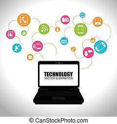 Technology design over white background vector illustration...
