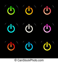 Power buttons set - Glowing power buttons on black...