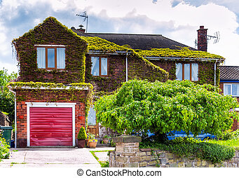 English house with garage